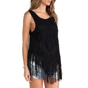 Free People On The Fringe Beaded Tank Top Small